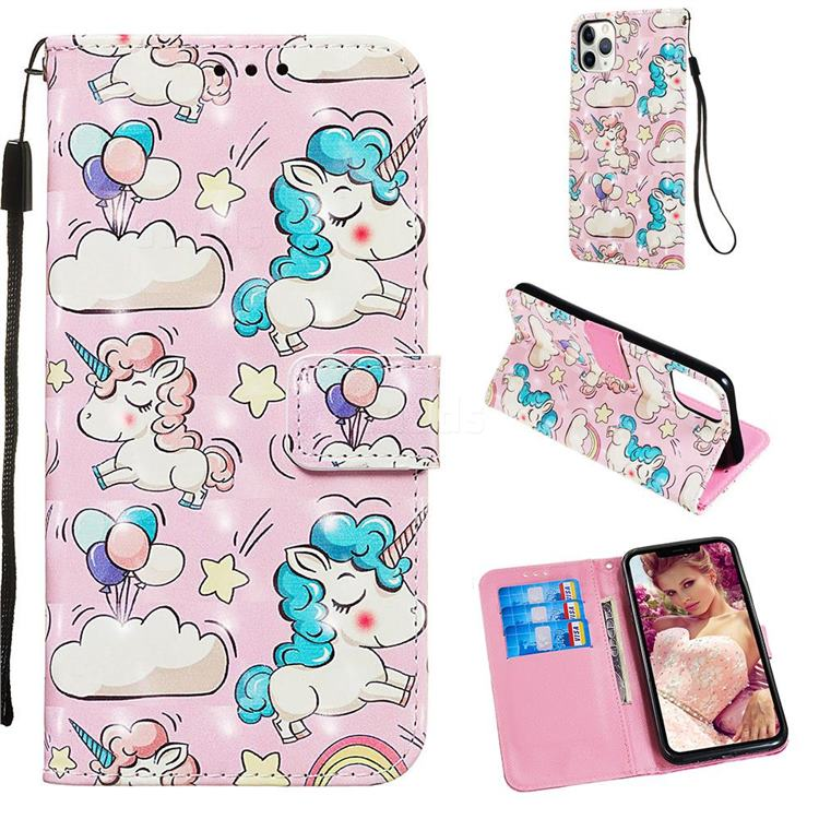 Angel Pony 3D Painted Leather Wallet Case for iPhone 11 Pro Max (6.5 inch)