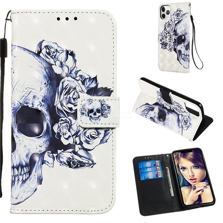 Skull Flower 3D Painted Leather Wallet Case for iPhone 11 Pro Max (6.5 inch)