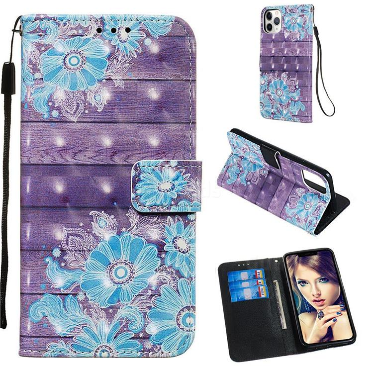 Blue Flower 3D Painted Leather Wallet Case for iPhone 11 Pro Max (6.5 inch)