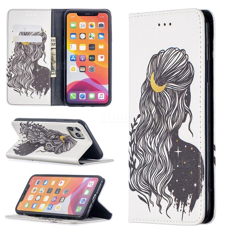 Girl with Long Hair Slim Magnetic Attraction Wallet Flip Cover for iPhone 11 Pro Max (6.5 inch)