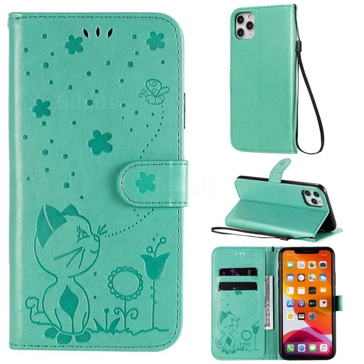 Embossing Bee and Cat Leather Wallet Case for iPhone 11 Pro Max (6.5 inch) - Green