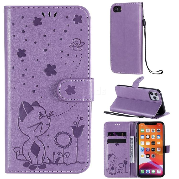 Embossing Bee and Cat Leather Wallet Case for iPhone 11 Pro Max (6.5 inch) - Purple