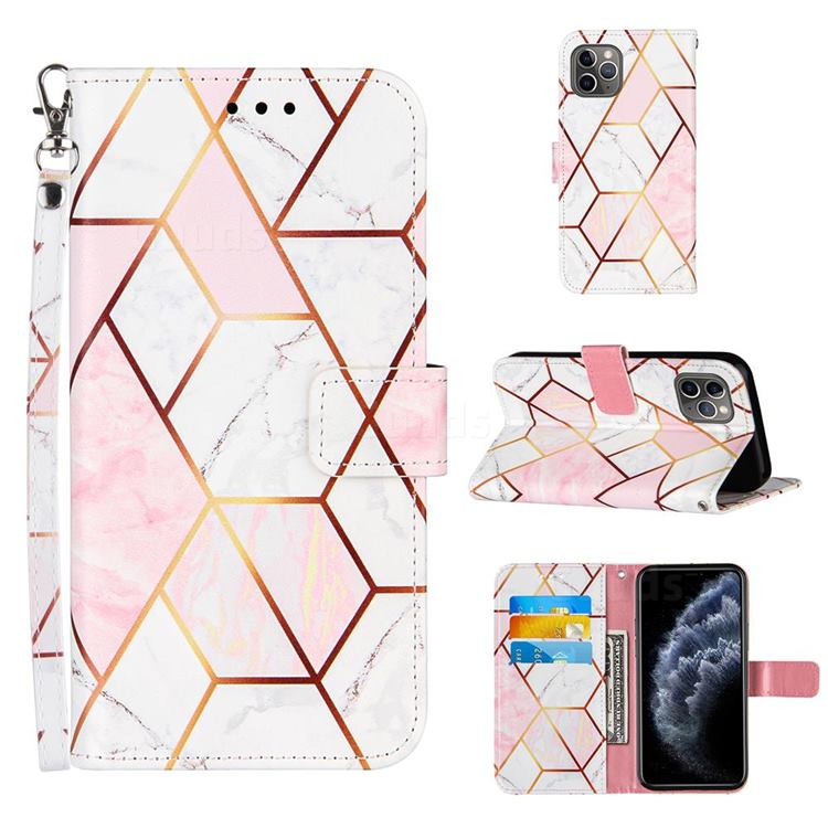 Pink White Stitching Color Marble Leather Wallet Case for iPhone 11 Pro Max (6.5 inch)