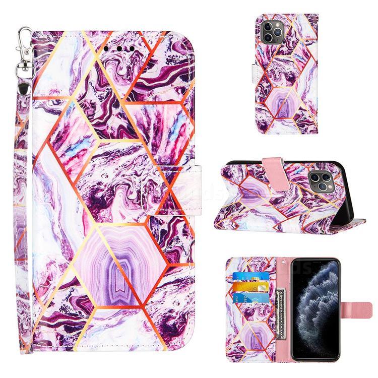 Dream Purple Stitching Color Marble Leather Wallet Case for iPhone 11 Pro Max (6.5 inch)