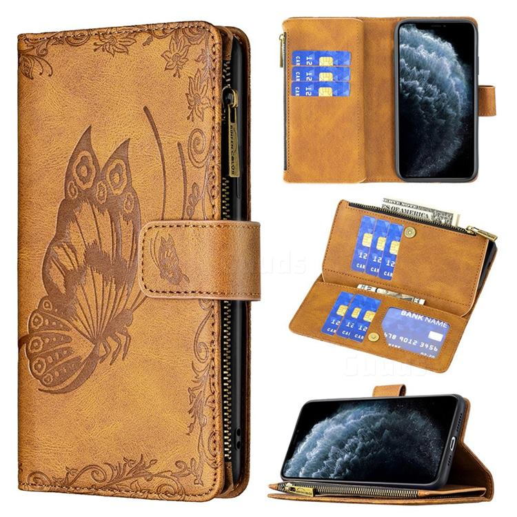 Binfen Color Imprint Vivid Butterfly Buckle Zipper Multi-function Leather Phone Wallet for iPhone 11 Pro Max (6.5 inch) - Brown