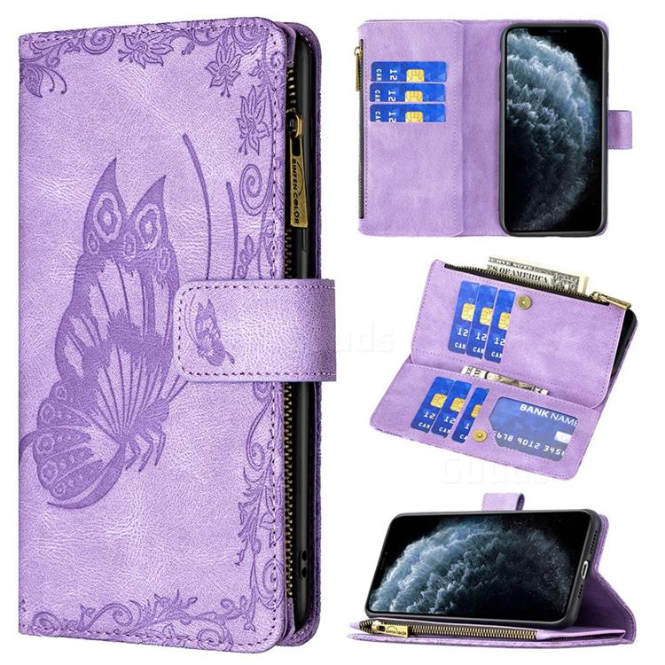 Binfen Color Imprint Vivid Butterfly Buckle Zipper Multi-function Leather Phone Wallet for iPhone 11 Pro Max (6.5 inch) - Purple
