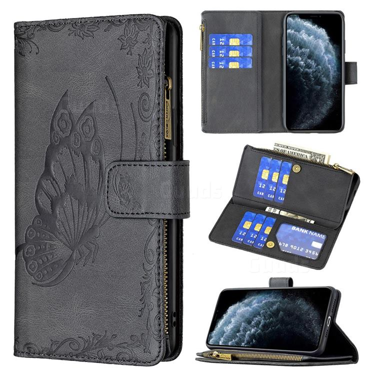 Binfen Color Imprint Vivid Butterfly Buckle Zipper Multi-function Leather Phone Wallet for iPhone 11 Pro Max (6.5 inch) - Black