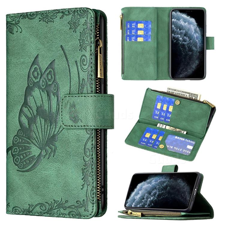 Binfen Color Imprint Vivid Butterfly Buckle Zipper Multi-function Leather Phone Wallet for iPhone 11 Pro Max (6.5 inch) - Green