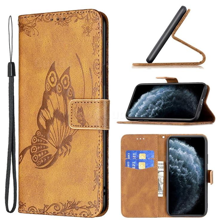 Binfen Color Imprint Vivid Butterfly Leather Wallet Case for iPhone 11 Pro Max (6.5 inch) - Brown