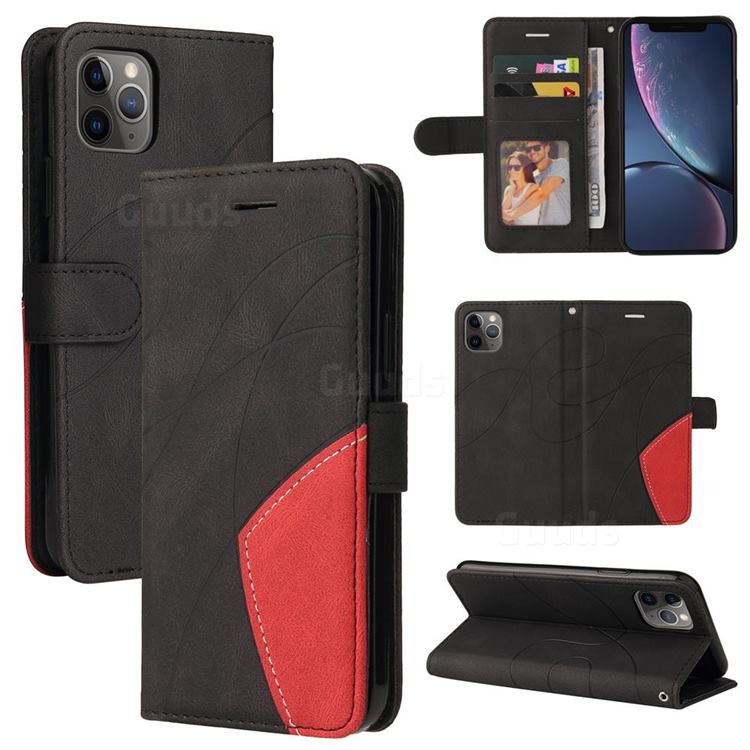 Luxury Two-color Stitching Leather Wallet Case Cover for iPhone 11 Pro Max (6.5 inch) - Black