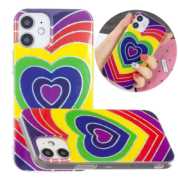 Rainbow Heart Painted Galvanized Electroplating Soft Phone Case Cover for iPhone 12 mini (5.4 inch)