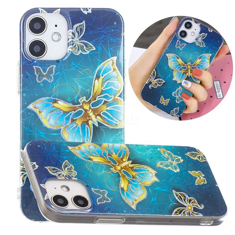 Golden Butterfly Painted Galvanized Electroplating Soft Phone Case Cover for iPhone 12 mini (5.4 inch)