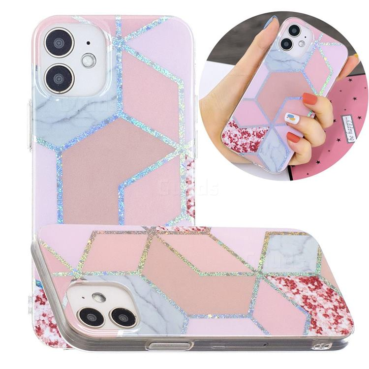 Pink Marble Painted Galvanized Electroplating Soft Phone Case Cover for iPhone 12 mini (5.4 inch)