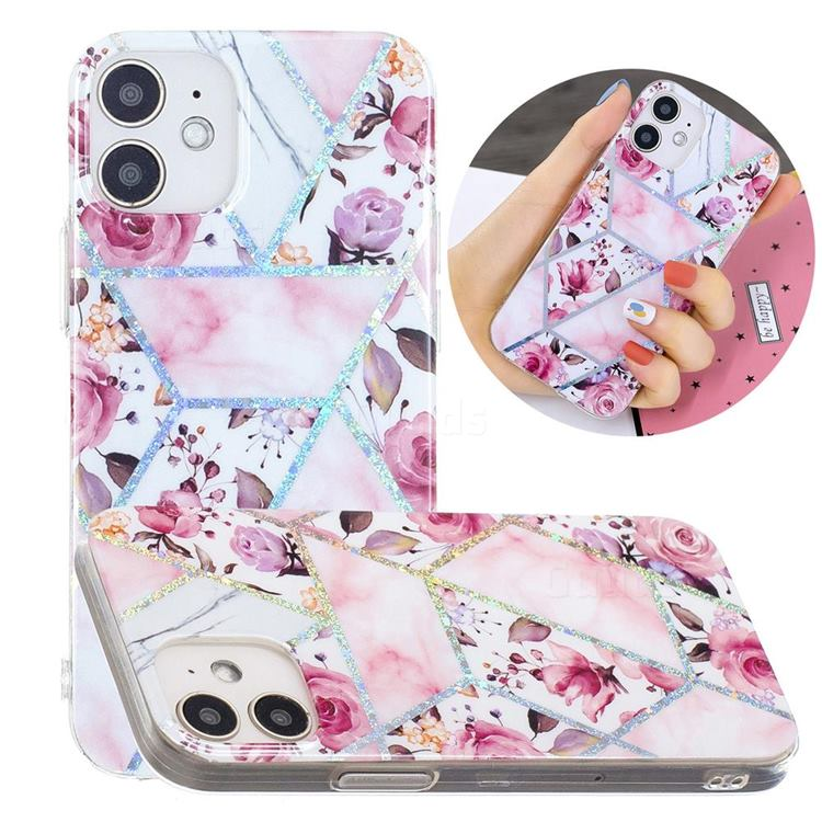 Rose Flower Painted Galvanized Electroplating Soft Phone Case Cover for iPhone 12 mini (5.4 inch)