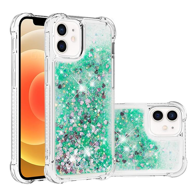 Dynamic Liquid Glitter Sand Quicksand TPU Case for iPhone 12 mini (5.4 inch) - Green Love Heart