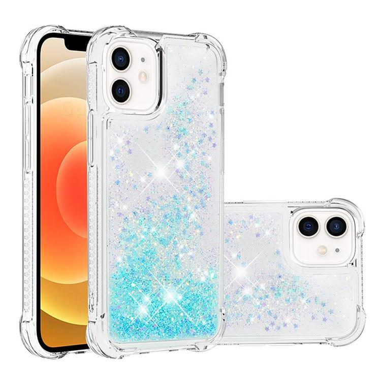 Dynamic Liquid Glitter Sand Quicksand TPU Case for iPhone 12 mini (5.4 inch) - Silver Blue Star