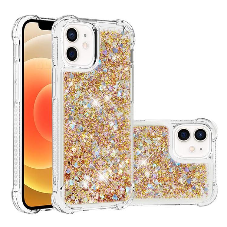 Dynamic Liquid Glitter Sand Quicksand TPU Case for iPhone 12 mini (5.4 inch) - Rose Gold Love Heart