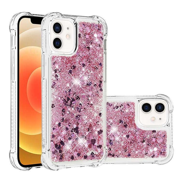 Dynamic Liquid Glitter Sand Quicksand Star TPU Case for iPhone 12 mini (5.4 inch) - Diamond Rose