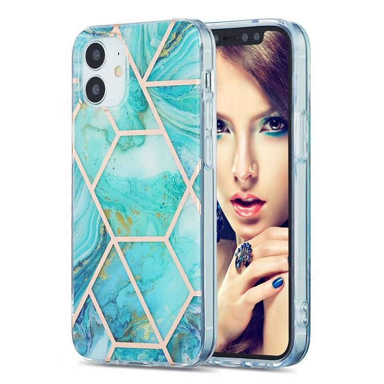 Blue Sea Marble Pattern Galvanized Electroplating Protective Case Cover for iPhone 12 mini (5.4 inch)