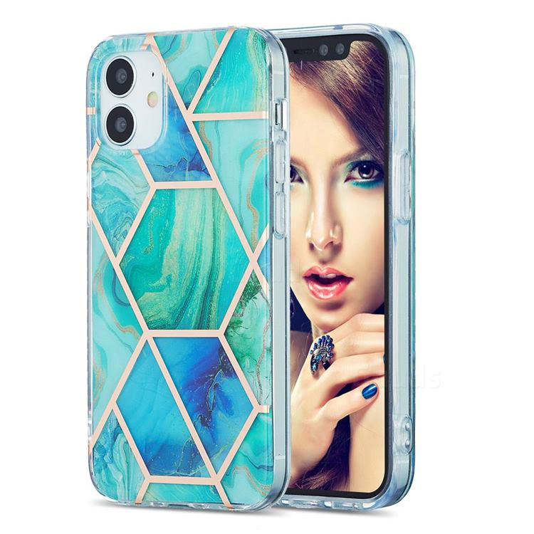 Green Glacier Marble Pattern Galvanized Electroplating Protective Case Cover for iPhone 12 mini (5.4 inch)