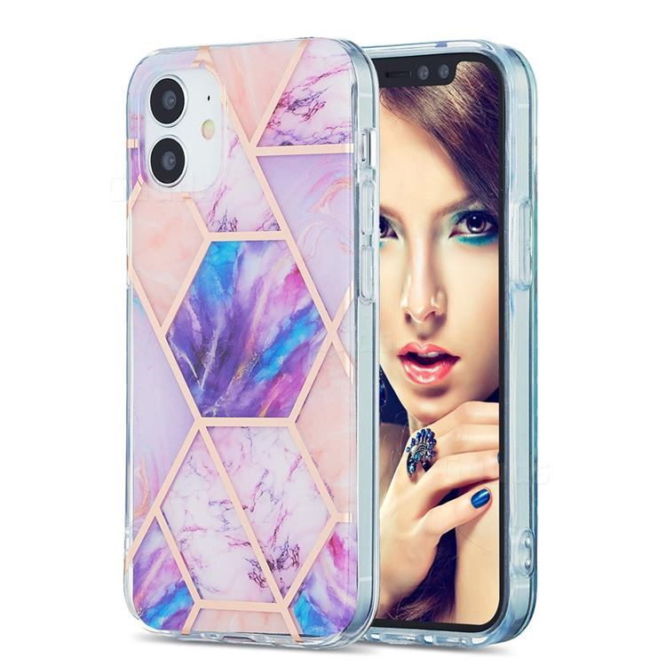 Purple Dream Marble Pattern Galvanized Electroplating Protective Case Cover for iPhone 12 mini (5.4 inch)