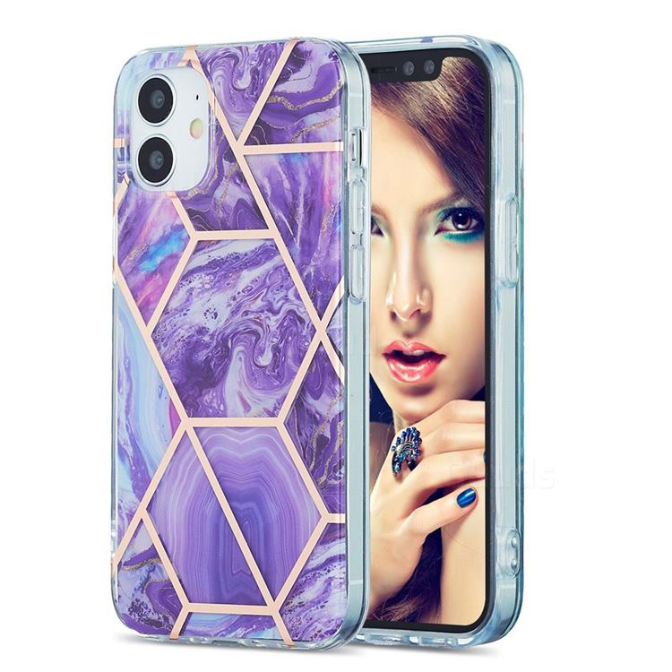 Purple Gagic Marble Pattern Galvanized Electroplating Protective Case Cover for iPhone 12 mini (5.4 inch)
