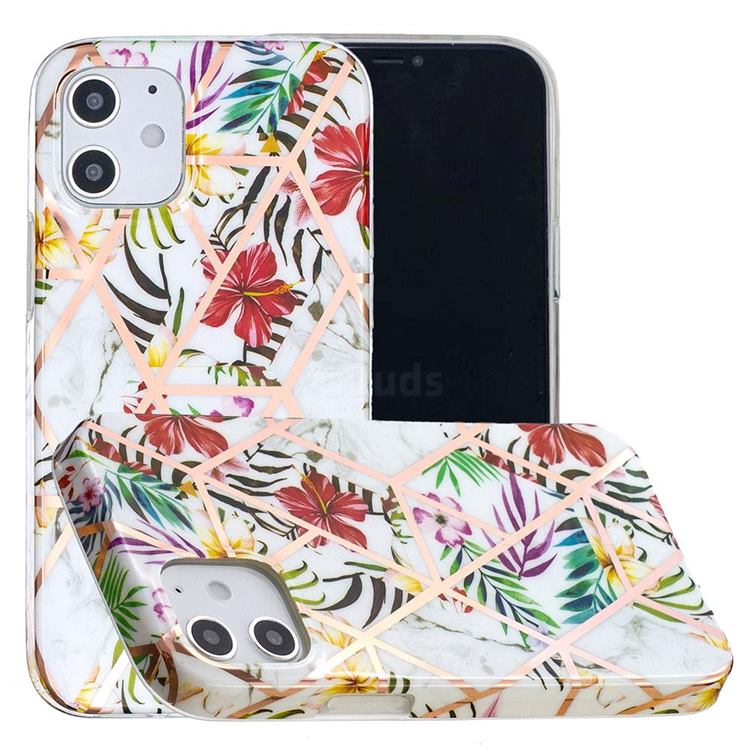 Tropical Rainforest Flower Painted Marble Electroplating Protective Case for iPhone 12 mini (5.4 inch)