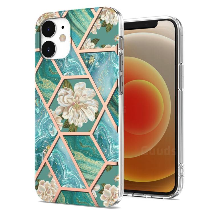 Blue Chrysanthemum Marble Electroplating Protective Case Cover for iPhone 12 mini (5.4 inch)