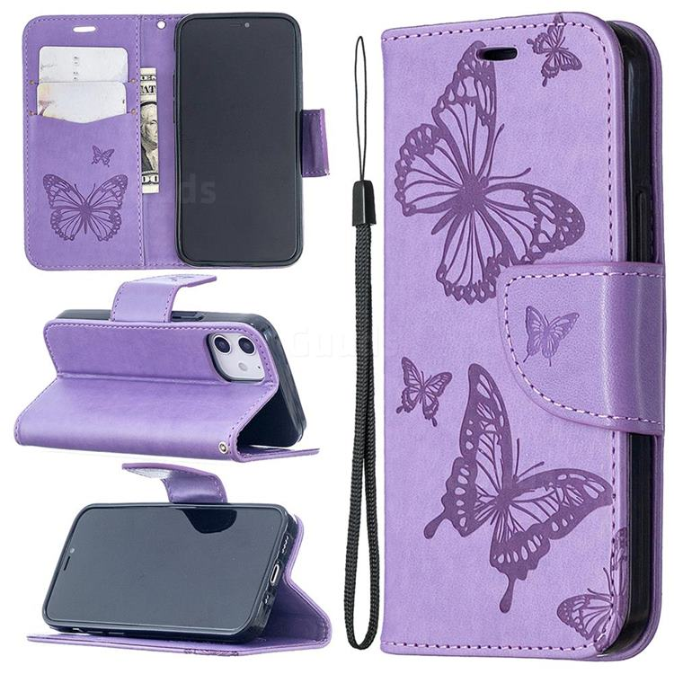 Embossing Double Butterfly Leather Wallet Case for iPhone 12 (5.4 inch) - Purple