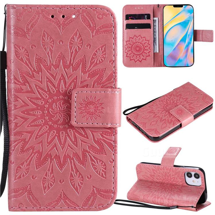 Embossing Sunflower Leather Wallet Case for iPhone 12 (5.4 inch) - Pink
