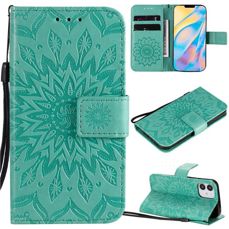 Embossing Sunflower Leather Wallet Case for iPhone 12 (5.4 inch) - Green