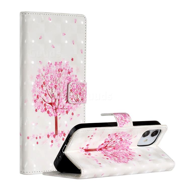 Sakura Flower Tree 3D Painted Leather Phone Wallet Case for iPhone 12 (5.4 inch)