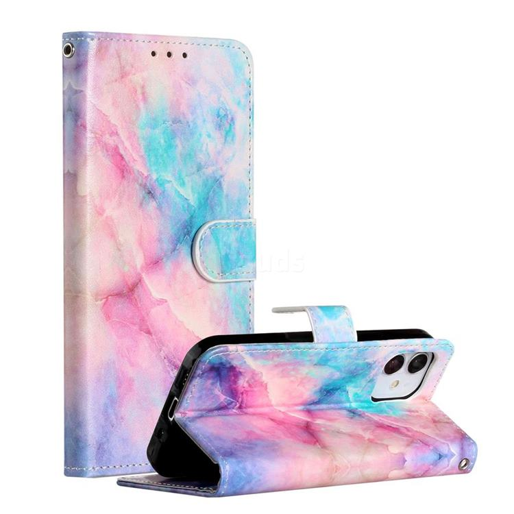 Blue Pink Marble Smooth Leather Phone Wallet Case for iPhone 12 (5.4 inch)