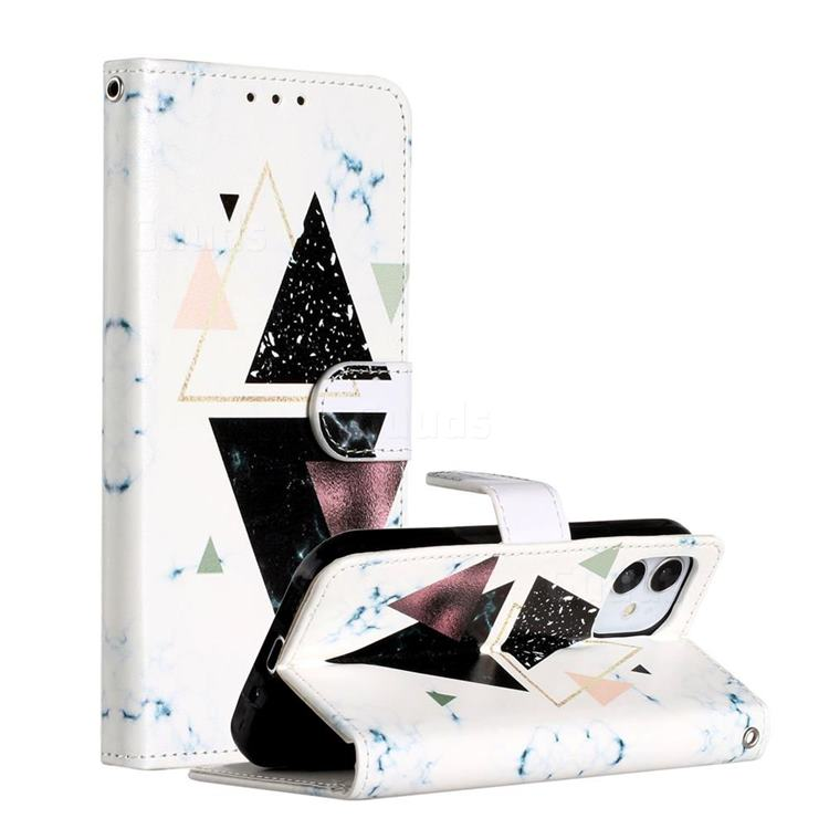 Triangle Marble Smooth Leather Phone Wallet Case for iPhone 12 (5.4 inch)