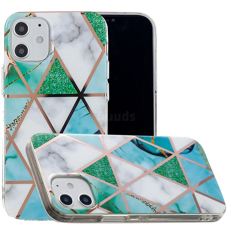 Green White Galvanized Rose Gold Marble Phone Back Cover for iPhone 12 (5.4 inch)