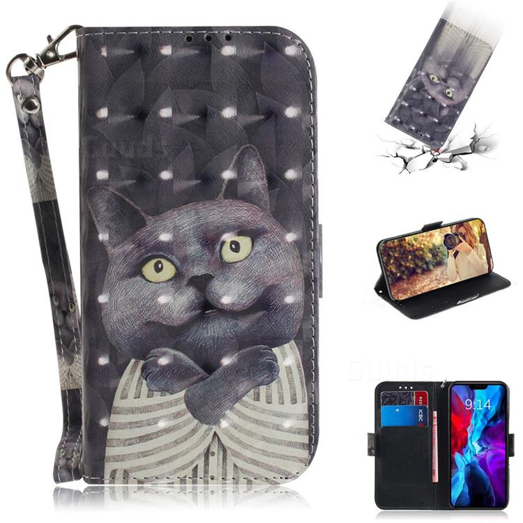 Cat Embrace 3D Painted Leather Wallet Phone Case for iPhone 12 (5.4 inch)