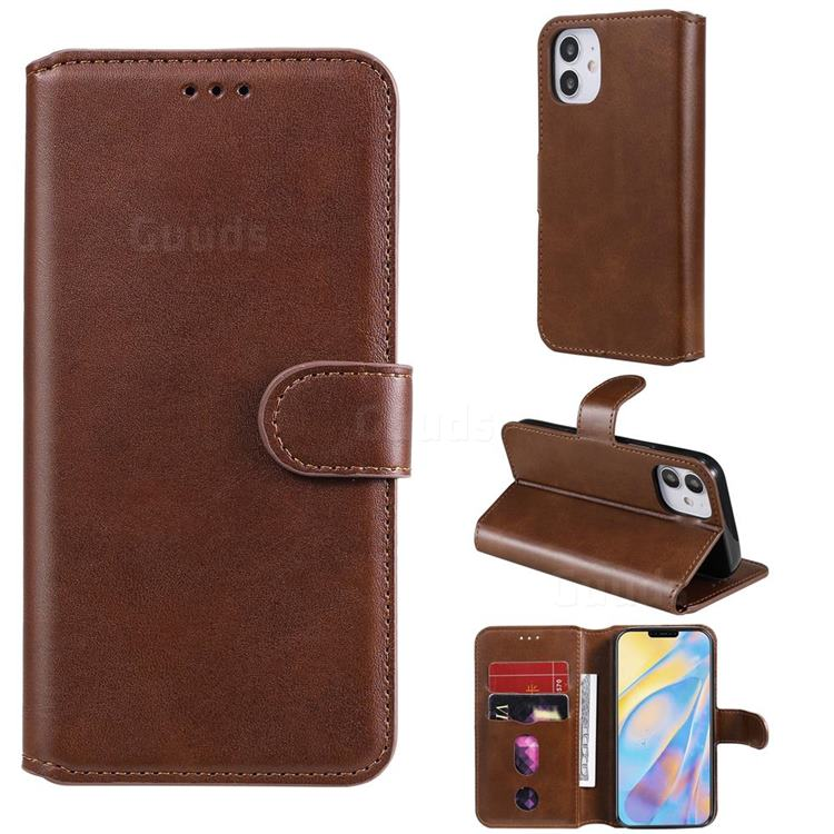 Retro Calf Matte Leather Wallet Phone Case for iPhone 12 (5.4 inch) - Brown
