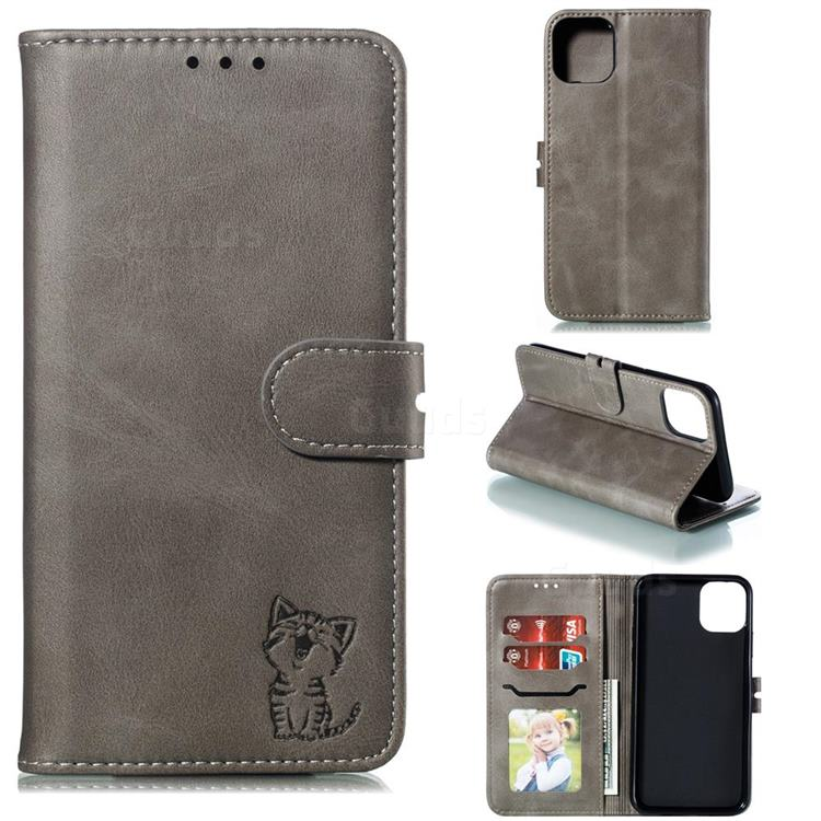 Embossing Happy Cat Leather Wallet Case for iPhone 12 (5.4 inch) - Gray