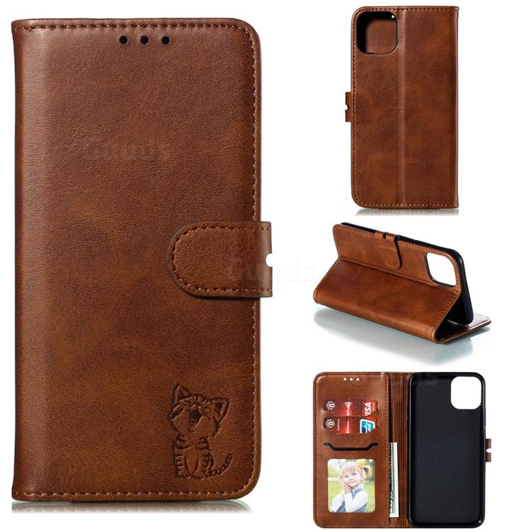 Embossing Happy Cat Leather Wallet Case for iPhone 12 (5.4 inch) - Brown
