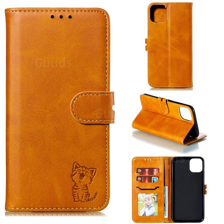 Embossing Happy Cat Leather Wallet Case for iPhone 12 (5.4 inch) - Yellow