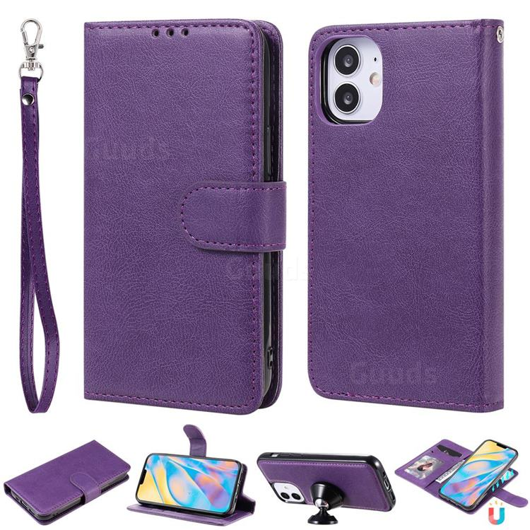 Retro Greek Detachable Magnetic PU Leather Wallet Phone Case for iPhone 12 (5.4 inch) - Purple