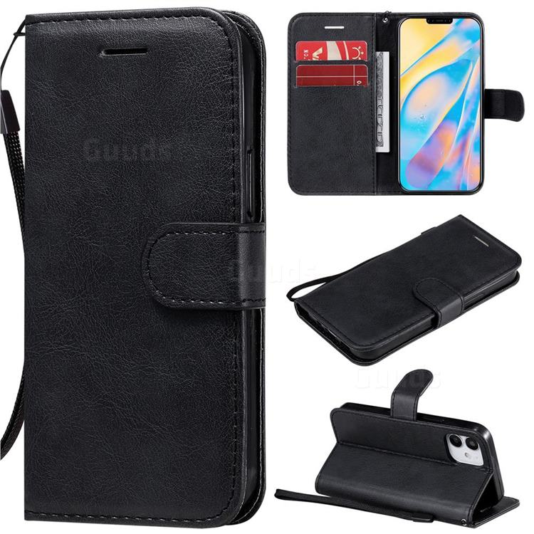 Retro Greek Classic Smooth PU Leather Wallet Phone Case for iPhone 12 mini (5.4 inch) - Black