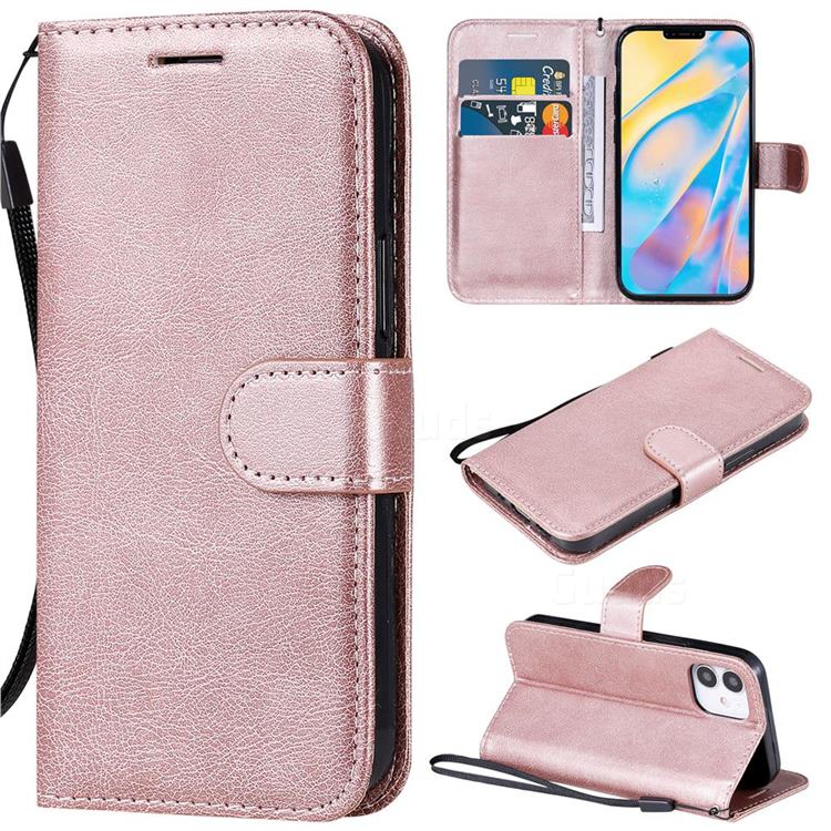 Retro Greek Classic Smooth PU Leather Wallet Phone Case for iPhone 12 (5.4 inch) - Rose Gold
