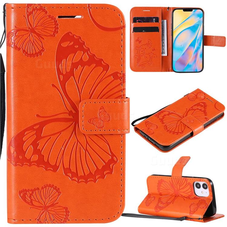 Embossing 3D Butterfly Leather Wallet Case for iPhone 12 (5.4 inch) - Orange