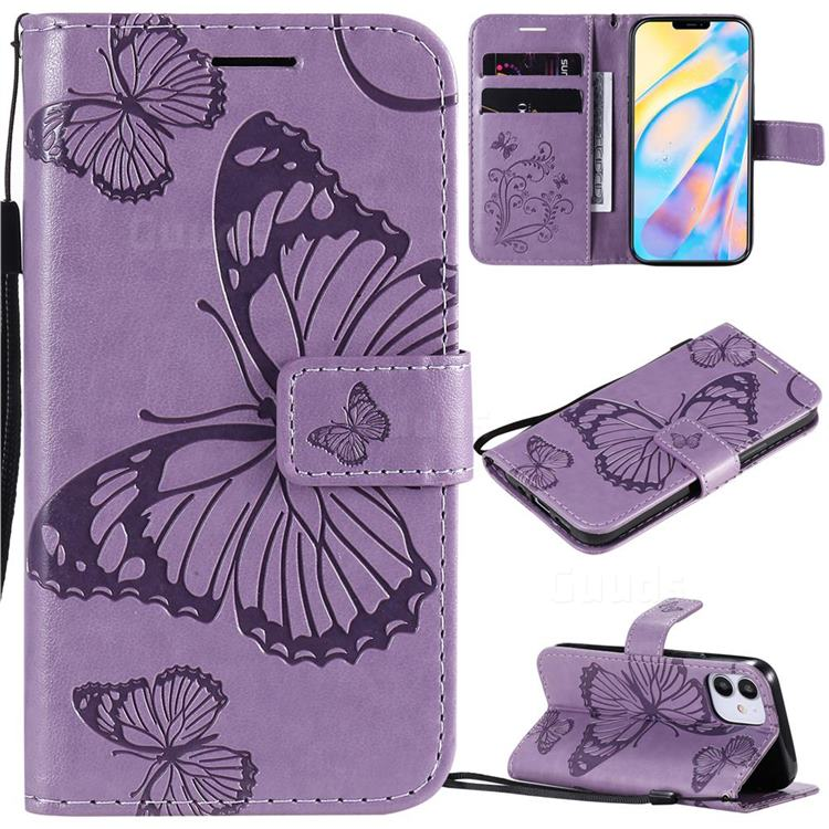 Embossing 3D Butterfly Leather Wallet Case for iPhone 12 (5.4 inch) - Purple