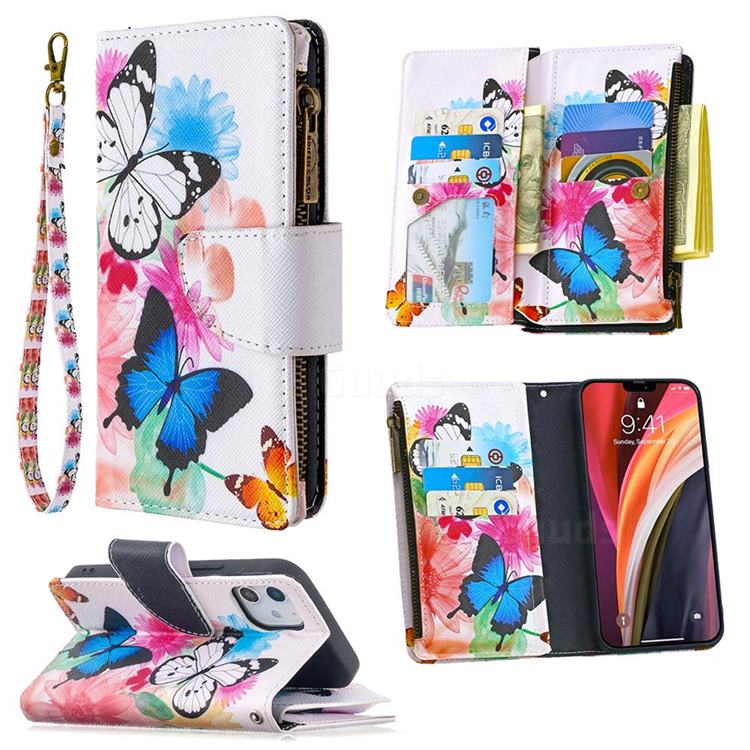 Vivid Flying Butterflies Binfen Color BF03 Retro Zipper Leather Wallet Phone Case for iPhone 12 (5.4 inch)