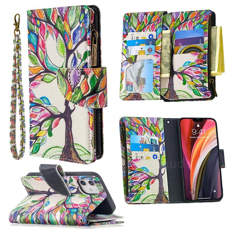 The Tree of Life Binfen Color BF03 Retro Zipper Leather Wallet Phone Case for iPhone 12 (5.4 inch)