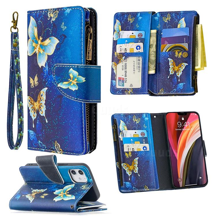 Golden Butterflies Binfen Color BF03 Retro Zipper Leather Wallet Phone Case for iPhone 12 (5.4 inch)
