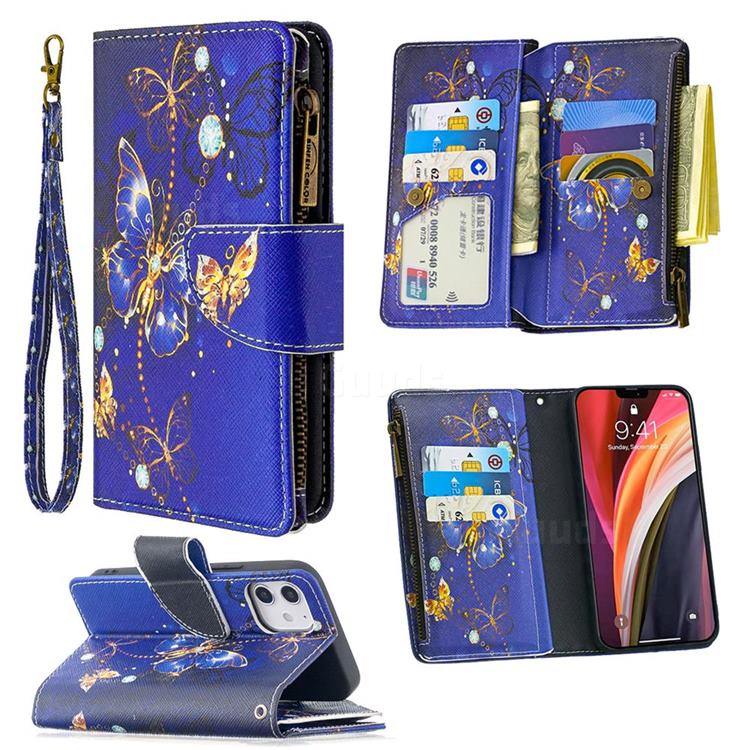 Purple Butterfly Binfen Color BF03 Retro Zipper Leather Wallet Phone Case for iPhone 12 (5.4 inch)