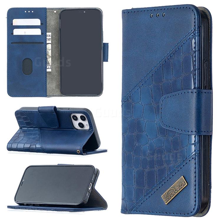 BinfenColor BF04 Color Block Stitching Crocodile Leather Case Cover for iPhone 12 (5.4 inch) - Blue